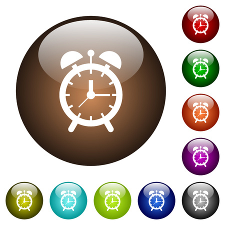 Alarm clock white icons on round color glass buttons