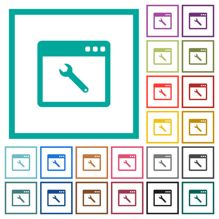 Application maintenance flat color icons with quadrant frames on white background