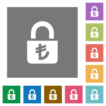 Locked lira flat icons on simple color square backgrounds