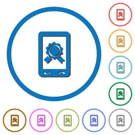 Mobile certification flat color vector icons with shadows in round outlines on white background Illustration