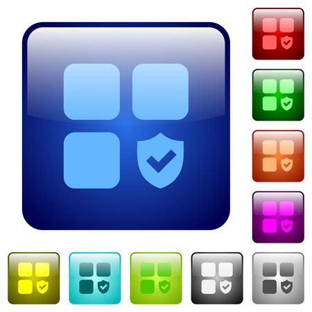 Protected component icons in rounded square color glossy button set