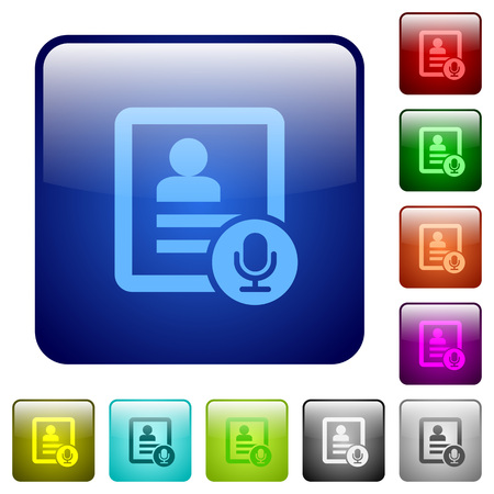 Contact voice calling icons in rounded square color glossy button set