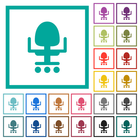 Office chair flat color icons with quadrant frames on white background Ilustrace