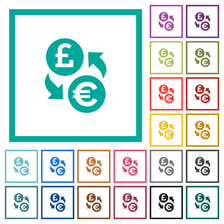 Pound Euro money exchange flat color icons with quadrant frames on white background
