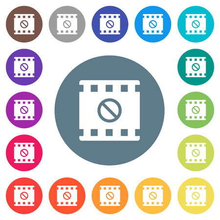 Movie disabled flat white icons on round color backgrounds. 17 background color variations are included.