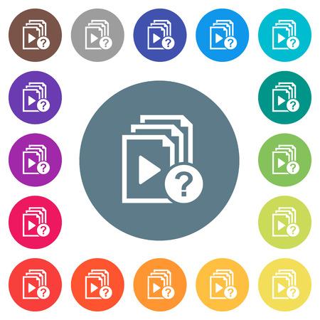 Onbekende afspeellijst plat witte pictogrammen op ronde kleurenachtergronden. 17 achtergrondkleurvariaties zijn inbegrepen.