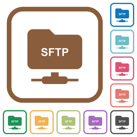 FTP over SSH simple icons in color rounded square frames on white background