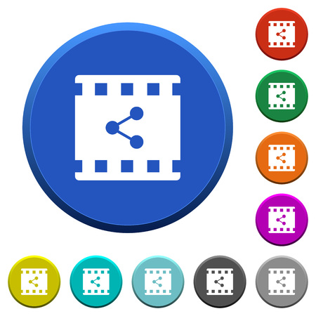 Share movie round color beveled buttons with smooth surfaces and flat white icons