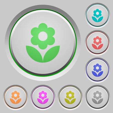 Flower color icons on sunk push buttons