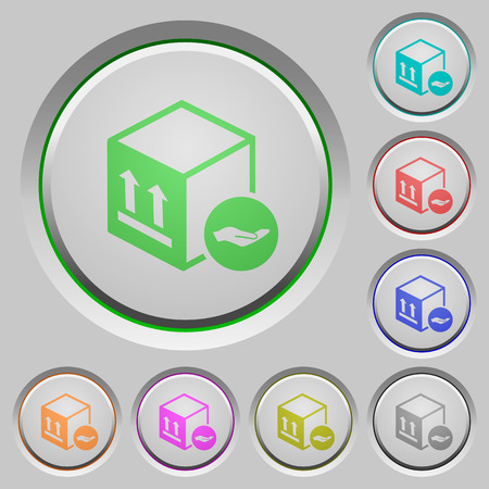 Package insurance color icons on sunk push buttons