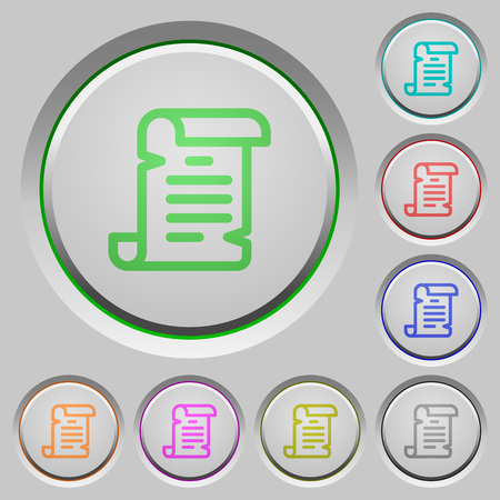 Paper scroll color icons on sunk push buttons Illustration