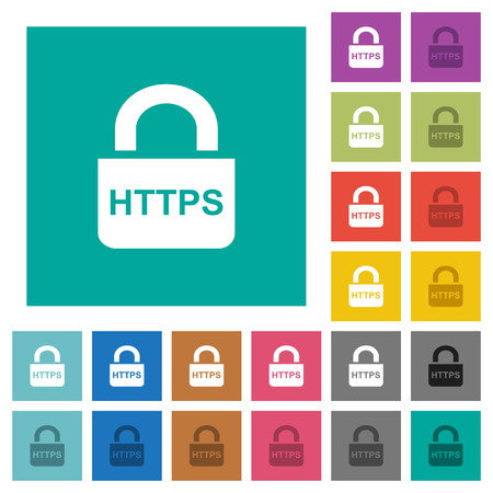 Secure https protocol multi colored flat icons on plain square backgrounds. Included white and darker icon variations for hover or active effects. Illustration