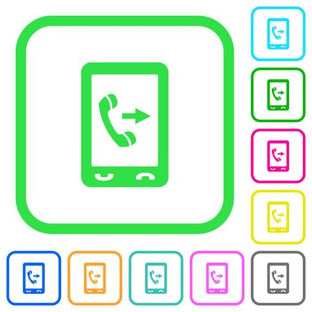 Outgoing mobile call vivid colored flat icons in curved borders on white background