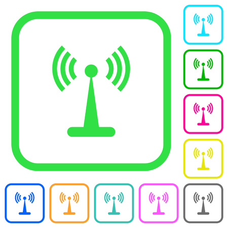 Wlan network vivid colored flat icons in curved borders on white background