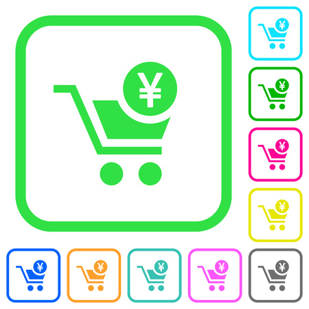 Checkout with Yen cart vivid colored flat icons in curved borders on white background Stock Illustratie