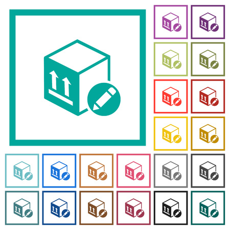 Package edit flat color icons with quadrant frames on white background Çizim