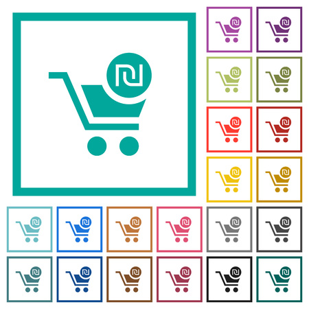 Checkout with new Shekel cart flat color icons with quadrant frames on white background