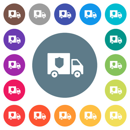Money deliverer truck flat white icons on round color backgrounds. 17 background color variations are included.