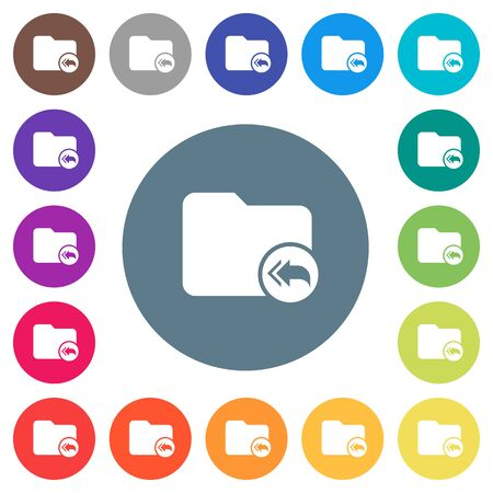 Root directory flat white icons on round color backgrounds. 17 background color variations are included.