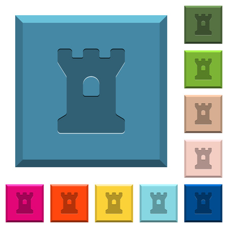 Bastion engraved icons on edged square buttons in various trendy colors Illustration