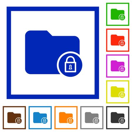 Lock directory flat color icons in square frames on white background