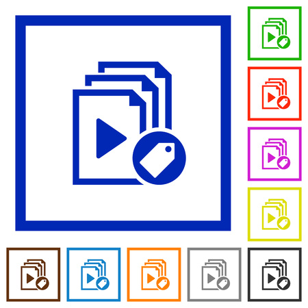 Tag playlist flat color icons in square frames on white background