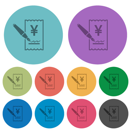 Signing Yen cheque darker flat icons on color round background