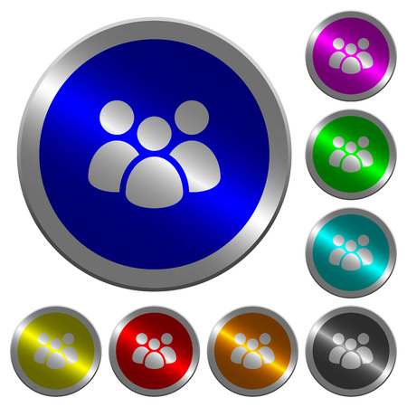 Team icons on round luminous coin-like color steel buttons Illustration