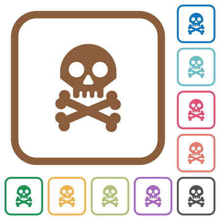 Skull with bones simple icons in color rounded square frames on white background