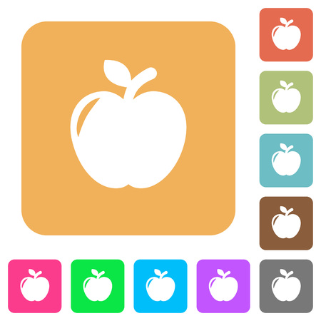Apple flat icons on rounded square vivid color backgrounds. Illustration