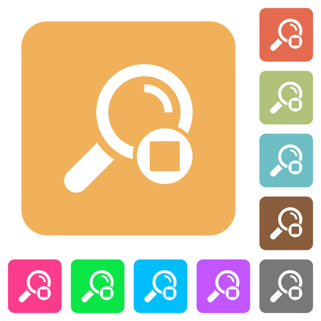 Stop search flat icons on rounded square vivid color backgrounds.