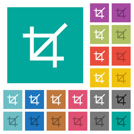 Crop tool multi colored flat icons on plain square backgrounds. Included white and darker icon variations for hover or active effects. Illusztráció