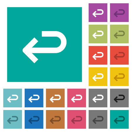 Back arrow multi colored flat icons on plain square backgrounds. Included white and darker icon variations for hover or active effects.
