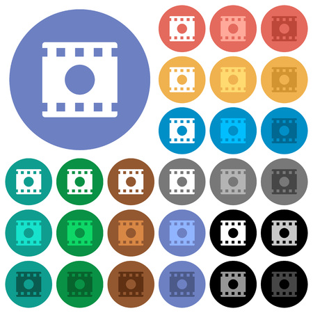 Movie record multi colored flat icons on round backgrounds. Included white, light and dark icon variations for hover and active status effects, and bonus shades on black backgrounds.