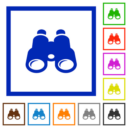 Binoculars flat color icons in square frames on white background.