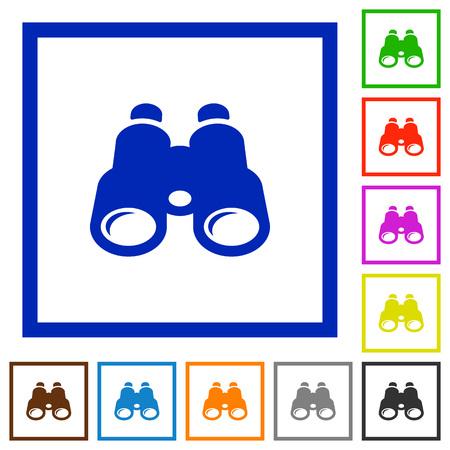 Verrekijker egale kleur pictogrammen in vierkante kaders op witte achtergrond.