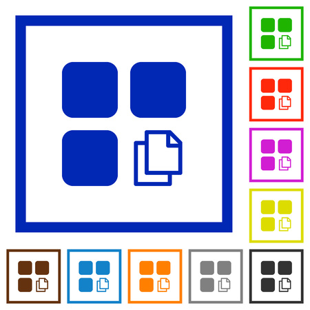 Copy component flat color icons in square frames on white background