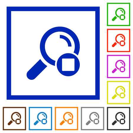 Stop search flat color icons in square frames on white background.
