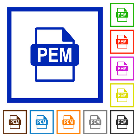 PEM file format flat color icons in square frames on white background