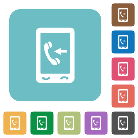 Mobile incoming call white flat icons on color rounded square backgrounds