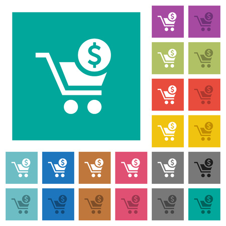 Checkout with Dollar cart multi colored flat icons on plain square backgrounds. Included white and darker icon variations for hover or active effects. Vettoriali