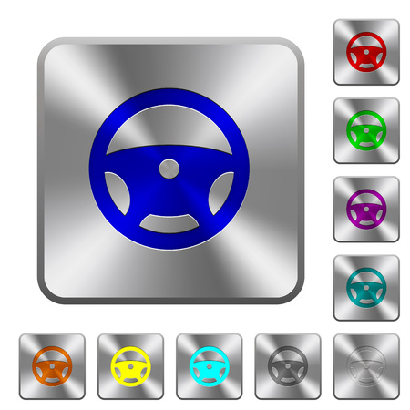 Steering wheel engraved icons on rounded square glossy steel buttons