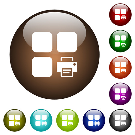 Print component white icons on round color glass buttons