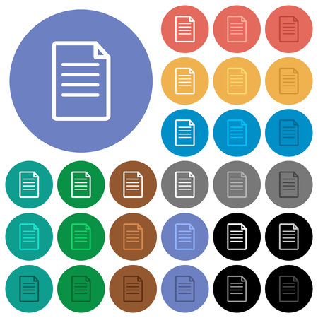 Single Document multi colored flat icons on round backgrounds. Included white, light and dark icon variations for hover and active status effects, and bonus shades on black backgounds. Иллюстрация