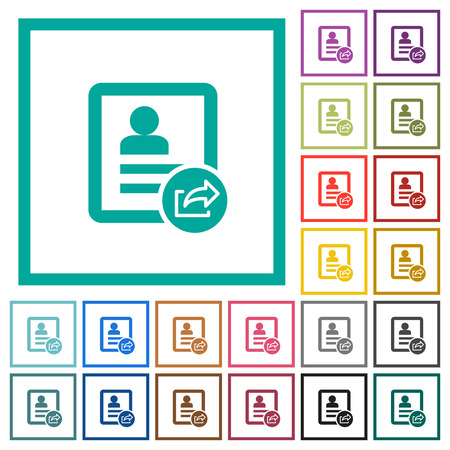 Export contact flat color icons with quadrant frames on white background Vettoriali