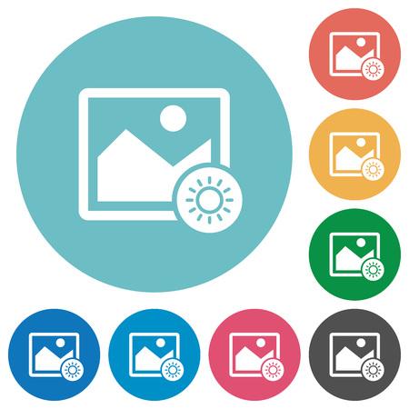 Adjust image brightness flat white icons on round color backgrounds