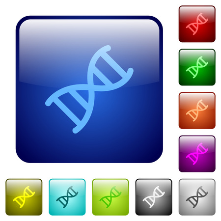 DNA molecule icons in rounded square color glossy button set