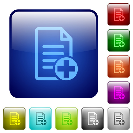 Add new document icons in rounded square color glossy button set