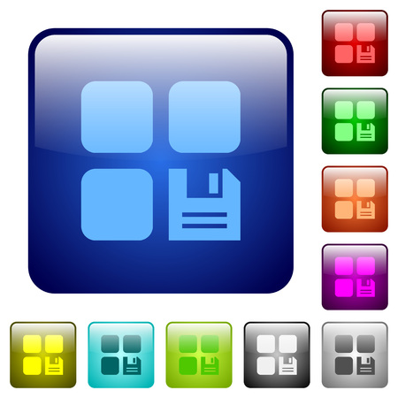 Save component icons in rounded square color glossy button set Illusztráció