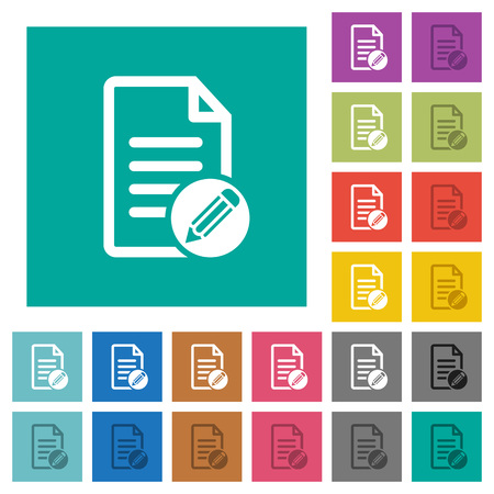 Edit document multi colored flat icons on plain square backgrounds. Included white and darker icon variations for hover or active effects.